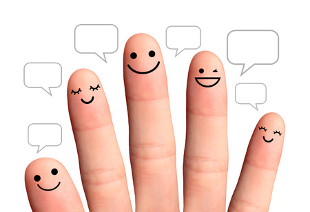 People talk in speech bubbles, isolated with clipping paths  Social network concept   Happy finger, isolated with clipping paths on white background