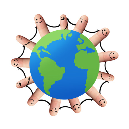 People around the world holding hands, isolated with clipping paths on white background  Happy fingers holding hands, environmental concept, Network or social media concept