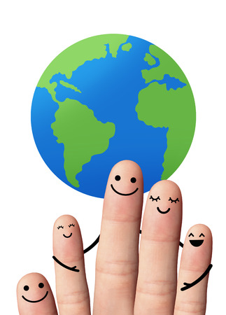 Happy family with the earth, isolated with clipping paths  5 fingers with the earth, isolated with clipping paths on white background  travel, environmental protection concept  photo