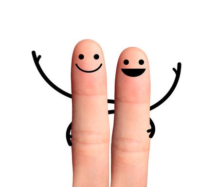 白い背景上で幸せな指抱擁