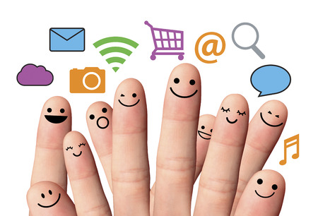 e commerce icon: Happy finger smileys with online sign  social network  Happy group of finger smileys with sign and speech bubbles  Social network concept  Stock Photo