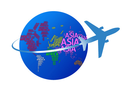 Airplane circling the globe with names of continents  isolated with clipping paths  photo