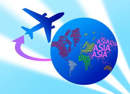 Aeroplano girando il mondo con i nomi dei continenti isolati con tracciati di ritaglio Airplane, concetto di viaggio e di trasporto, Typo mappa photo