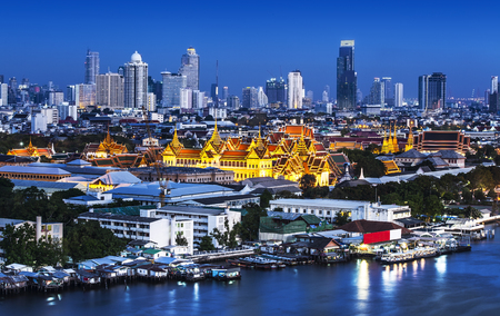emerald city: Chao Phraya River with Grand Palace   Wat Phra Kaew, Bangkok,Thailand  Grand Palace and Wat Phra Kaew or Temple of the Emerald Buddha are located in the historic centre of Bangkok