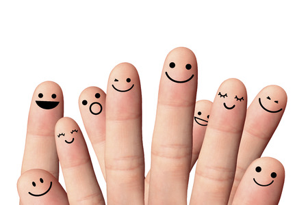 Happy people, isolated with clipping paths on white background  Stock Photo