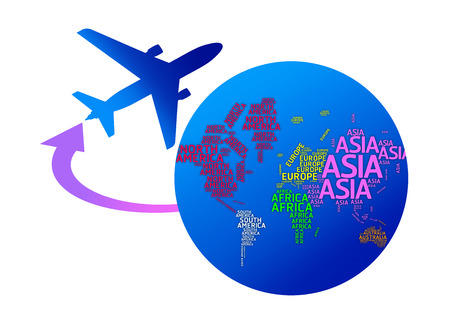 Aeroplano girando il mondo con i nomi dei continenti isolati con tracciati di ritaglio photo