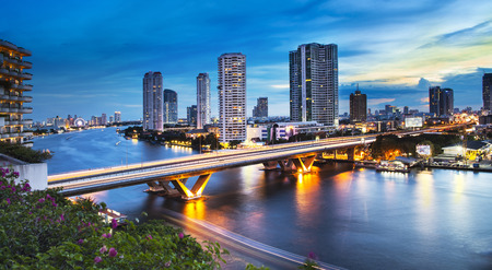 high view: Urban City Skyline, Chao Phraya River, Bangkok, Thailand  Bangkok is the capital city of Thailand, The Chao Phraya is a major river in Thailand  Stock Photo