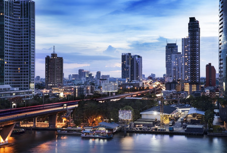 high rise: Urban City Skyline, Chao Phraya River, Bangkok, Thailand  - Bangkok is the capital city of Thailand, The Chao Phraya is a major river in Thailand