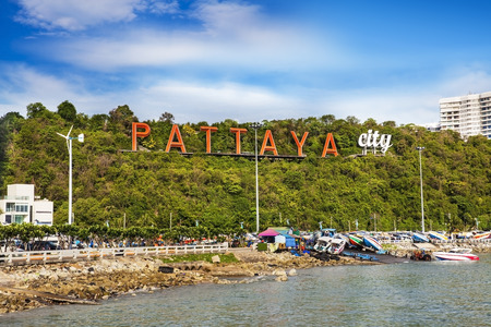 Pattaya sign, Pattaya city, Thailand   - Pattaya is a most popular beach resort with tourists and expatriates  It is located on the east coast of the Gulf of Thailand, southeast of Bangkok in the province of Chonburi  photo