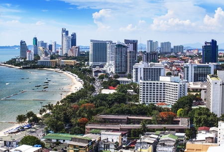 Urban city Skyline, Pattaya bay and beach, Thailand  - Pattaya is a most popular beach resort with tourists and expatriates  It is located on the east coast of the Gulf of Thailand, southeast of Bangkok in the province of Chonburi