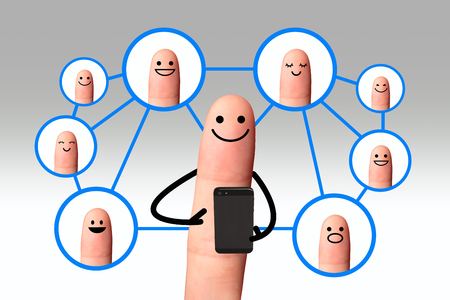 clipping  messaging: Happy finger using mobile phone with social network people