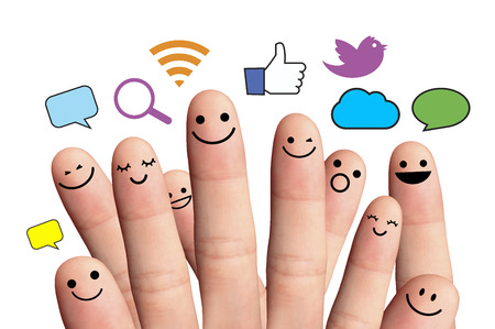 Happy finger smileys with social network sign  Isolated on a white background