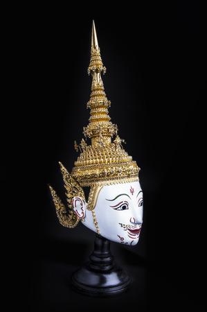 "Asia Mask  Tao Totsarot , Khon Mask of Thailand  - Khon is a Thai classical dance-drama with Ramayana  Ramakien  Story  ""Tao Totsarot"" is Phra Ram's father  photo"