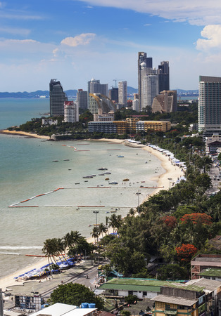Urban city Skyline, Pattaya bay and beach, Thailand  -Pattaya is a most popular beach resort with tourists and expatriates  It is located on the east coast of the Gulf of Thailand, southeast of Bangkok in the province of Chonburi  photo
