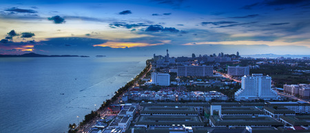 Urban city Skyline, Pattaya bay and beach, Thailand   photo