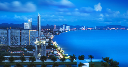 Urban city Skyline, Pattaya bay and beach photo