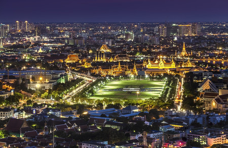Urban City Skyline, Grand Palace, Wat Phra Kaew   Sanam Luang Bangkok, Thailand  -Bangkok is the capital city of Thailand and the most populous city in the country  photo