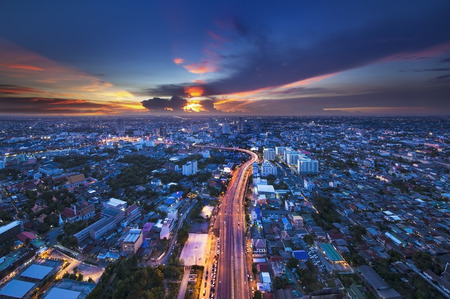 high view: Urban City Skyline, Bangkok, Thailand  Bangkok is the capital city of Thailand and the most populous city in the country