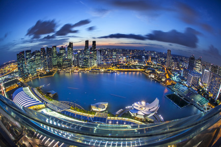 marina bay sand: Twilight in Singapore. Editorial