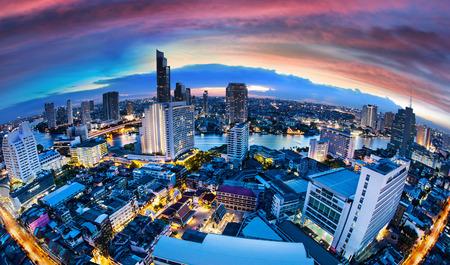 Bangkok City Skyline with chaophya river Thailand.