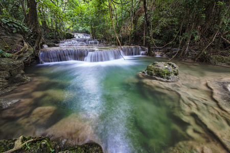 khamin: Huai Mae Khamin Waterfall, Kanchanaburi, Thailand Stock Photo