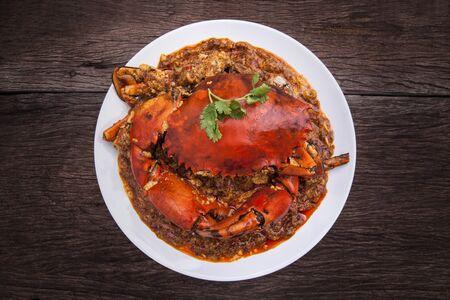 red chilli: Chilli crab asia cuisine. Singapore, Thailand Chilli Crab.