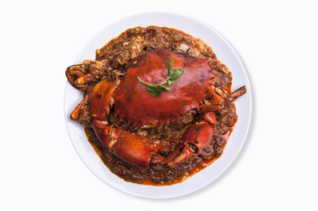 crab meat: Chilli crab asia cuisine. isolated with clipping path on white background.Singapore, Thailand Chilli Crab. Stock Photo