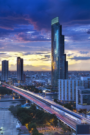 modern building: Bangkok City Skyline with Chao Phraya river, Thailand. Stock Photo