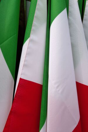 tricolour: Close up grouping of Italian Flags