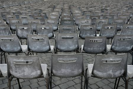 absent: Empty seats in Saint Peters square await an audience. Stock Photo