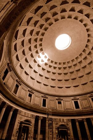vaulted: Wide angle view of the Pantheon showing vaulted ceiling and oculus.