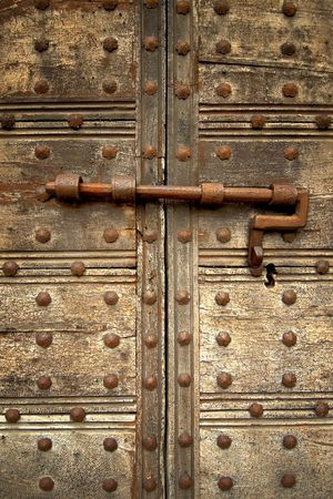 Medieval door bolt locked door Stock Photo - 661634