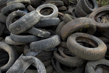 dispose: A Heap of dumped car tires Stock Photo