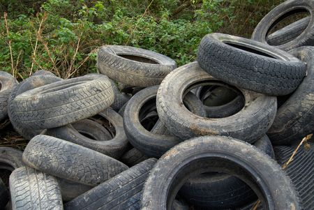 A Heap of dumped car tires Stock Photo - 661636