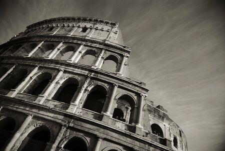 stunning view of the roman colosseum in black and white photo