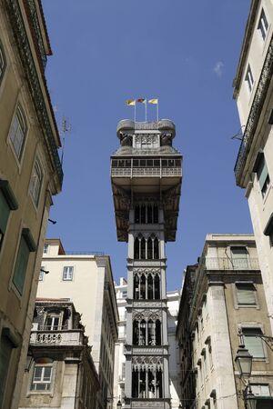 elevador: elevador de santa justa traditional historical lift in the centre of lisbon portugal