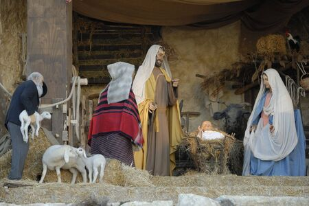 saint peter: representation of nativity a Christmas tradition in Saint Peter square Rome Vatican city Stock Photo