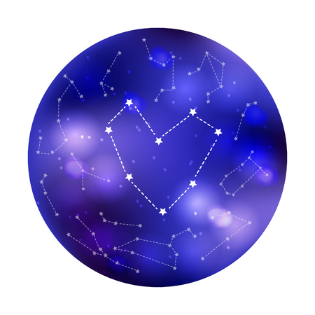 Heart constellation on night sky background