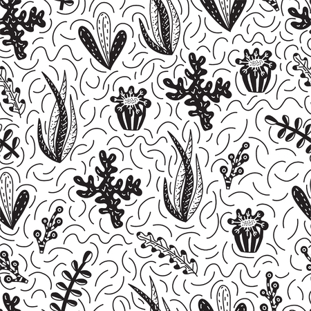 Seamless pattern with cute seaweeds in doodle style. Hand drawn vector illustrations