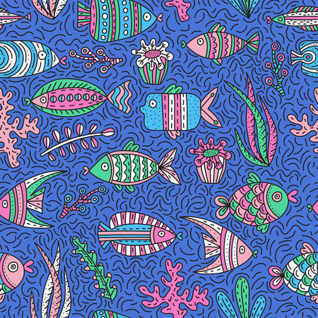 Seamless pattern with cute fishes and seaweeds in doodle style. Hand drawn vector illustrations