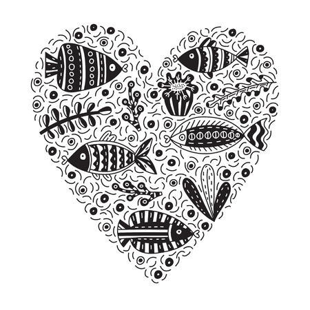 Doodle vector illustration with cute fishes and seaweeds. Background with lots of objects in heart shape