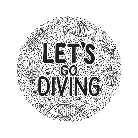 Let's go giving. Lettering quote with cute fishes and seaweeds. Background with lots of objects in heart shape Ilustração