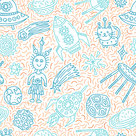 Seamless pattern with funny cartoon spaceships, stars, planets and aliens