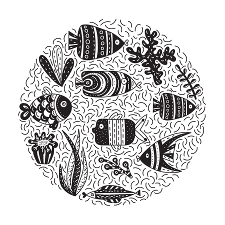 Doodle vector illustration with cute fishes and seaweeds. Background with lots of objects in circle shape 일러스트