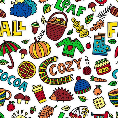 Vector fall doodle illustration. Seamless pattern with objects and symbols on the autumn theme 일러스트