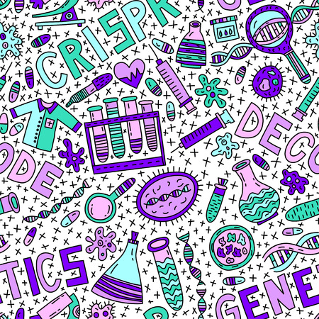 Genetics seamless pattern with lettering and doodles Çizim