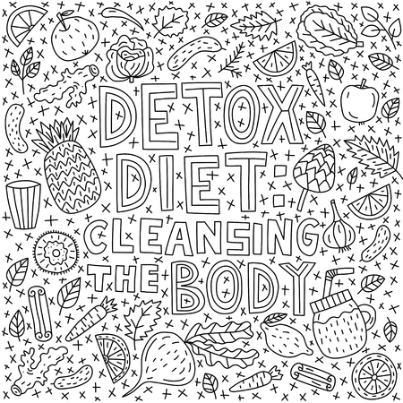 Detox diet: cleansing the body. Vector lettering with doodle illustrations