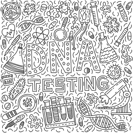 DNA testing. Lettering with doodle illustration Vector Illustration