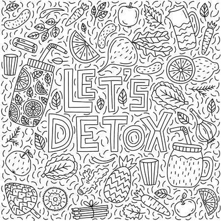 Let's detox. Vector lettering with doodle illustrations