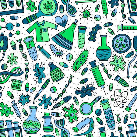 Médical et génétique vector pattern transparente avec doodle Illustration
